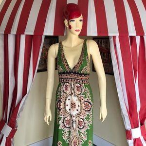 Green Print Maxi Dress
